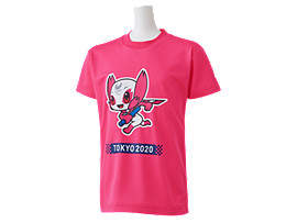 Front Top view of Tシャツ Kids(東京2020パラリンピックマスコット), ピンク