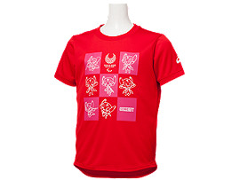 Front Top view of Tシャツ Kids(東京2020パラリンピックマスコット), レッド