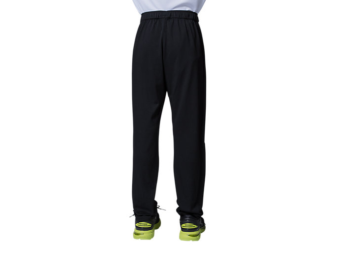 Back view of Jr LIMO®ストレッチニットパンツ, パフォーマンスブラック×ブリリアントホワイト