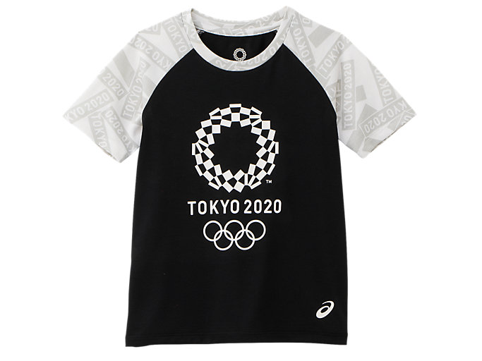 Front Top view of KIDS Tシャツ(東京2020オリンピックエンブレム), ブラック×ホワイト