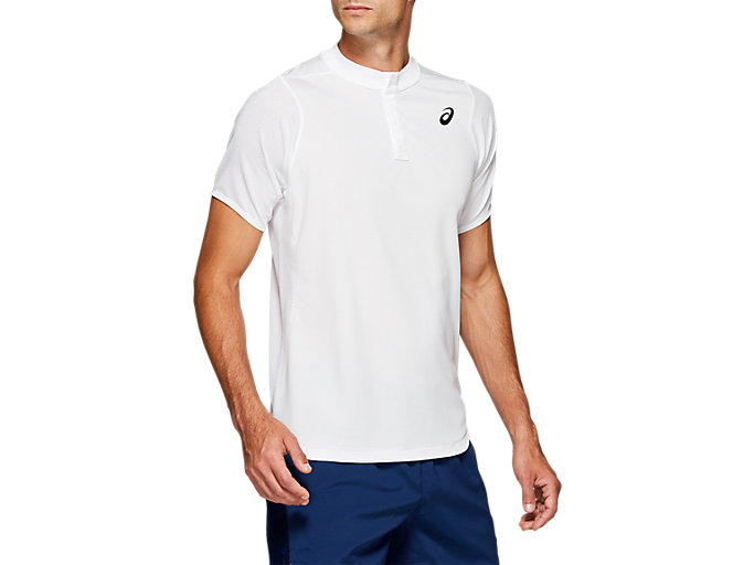 Front Top view of GEL-COOL POLO-SHIRT, BRILLIANT WHITE