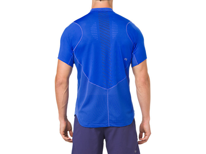 Back view of GEL-COOL POLO-SHIRT, ILLUSION BLUE