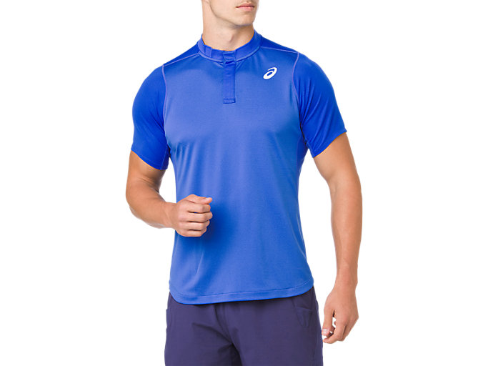 Front Top view of GEL-COOL POLO-SHIRT, ILLUSION BLUE
