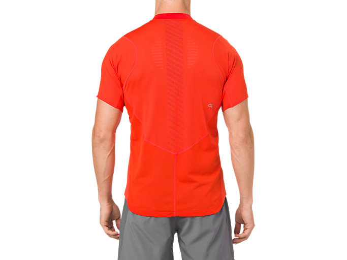 Back view of GEL-COOL POLO-SHIRT, CHERRY TOMATO