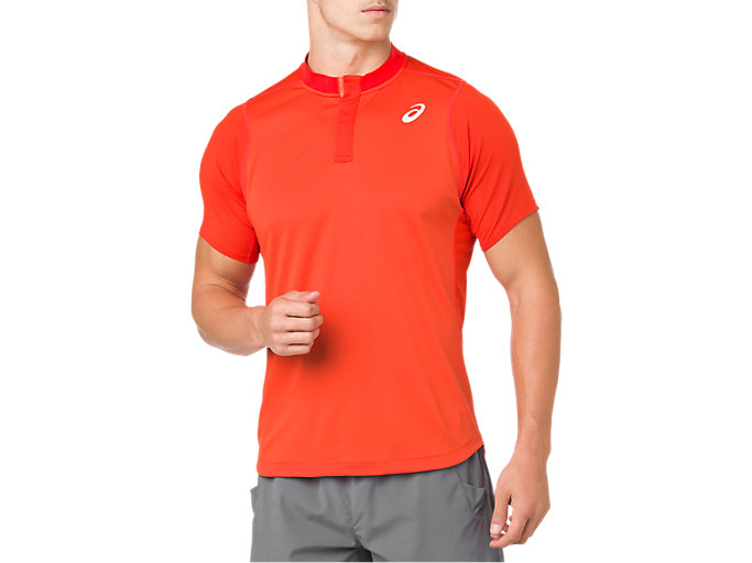 Front Top view of GEL-COOL POLO-SHIRT, CHERRY TOMATO