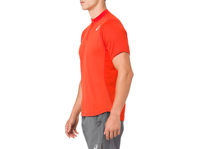 Side view of GEL-COOL POLO-SHIRT, CHERRY TOMATO