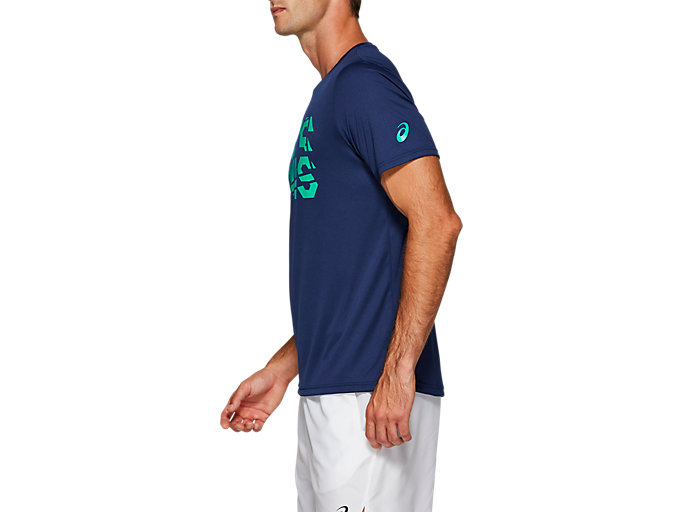 Side view of PRACTICE SS TOP, BLUE EXPANSE