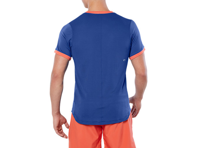 Back view of CLUB SS TOP, ASICS BLUE
