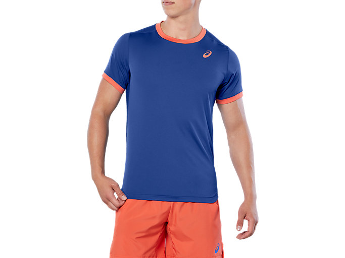 Front Top view of CLUB SS TOP, ASICS BLUE