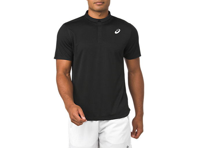 Front Top view of CLUB POLO-SHIRT, PERFORMANCE BLACK