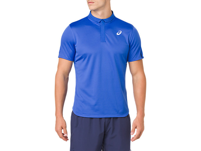 Front Top view of CLUB POLO-SHIRT, ILLUSION BLUE