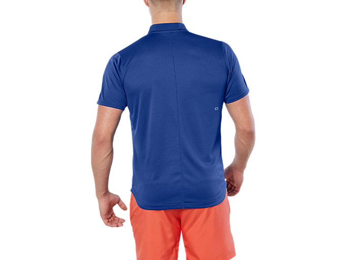Back view of CLUB POLO-SHIRT, ASICS BLUE