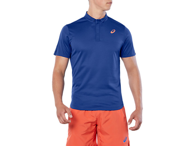 Front Top view of CLUB POLO-SHIRT, ASICS BLUE