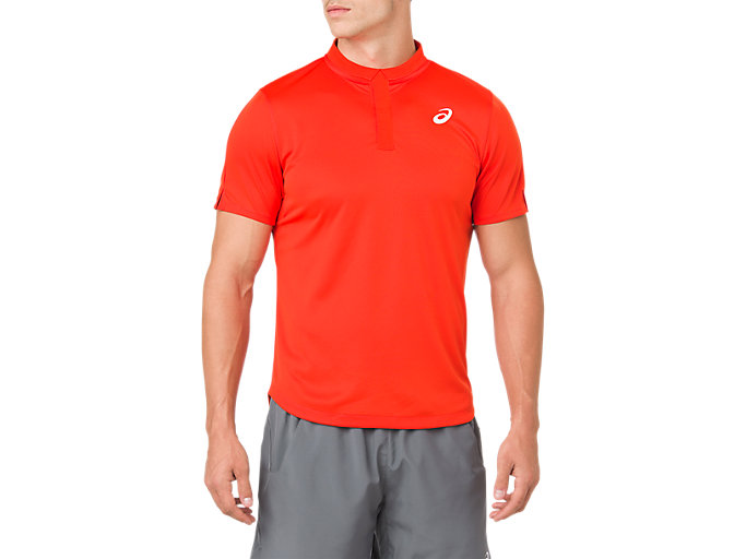 Front Top view of CLUB POLO-SHIRT, CHERRY TOMATO