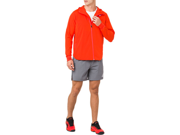 Front Top view of TENNIS WOVEN JACKET, CHERRY TOMATO