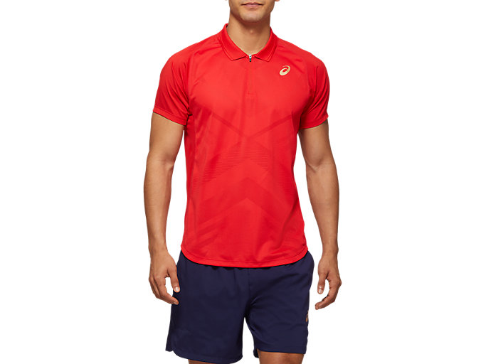 Front Top view of TENNIS M POLO SHIRT, CLASSIC RED
