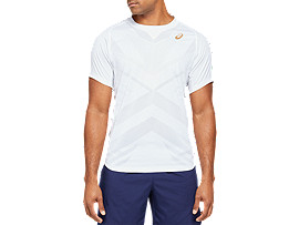 Front Top view of TENNIS M SS TEE, BRILLIANT WHITE