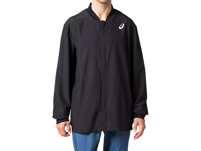 Front Top view of CLUB M WVN JACKET, PERFORMANCE BLACK
