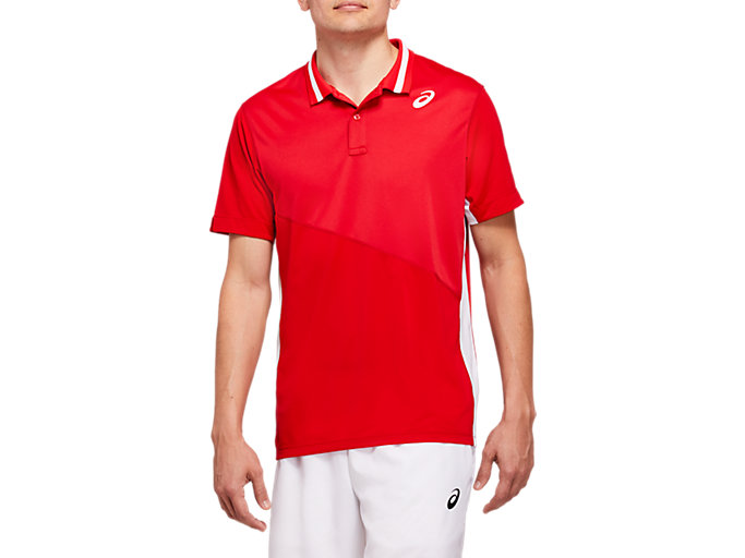 Front Top view of CLUB M POLO SHIRT, CLASSIC RED