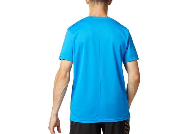 Back view of プラィクティスショートスリーブトップ, ディレクトワールブルー×ブリリアントホワイト