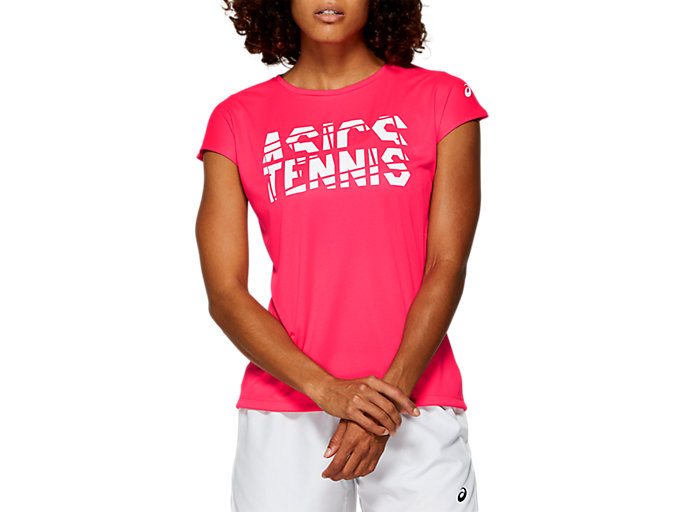 Front Top view of PRACTICE GRAPHIC SS, LASER PINK