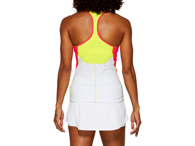 Back view of CLUB TANK TOP, BRILLIANT WHITE/SOUR YUZU