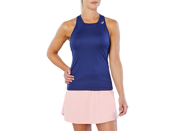Front Top view of CLUB TANK TOP, INDIGO BLUE