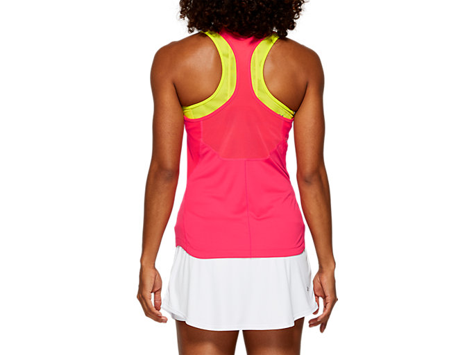 Back view of CLUB TANK TOP, LASER PINK