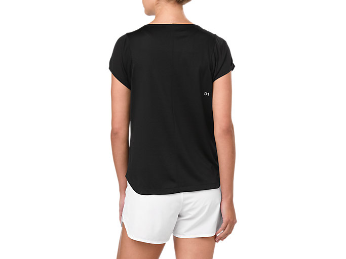 Back view of PRACTICE SS TOP, PERFORMANCE BLACK