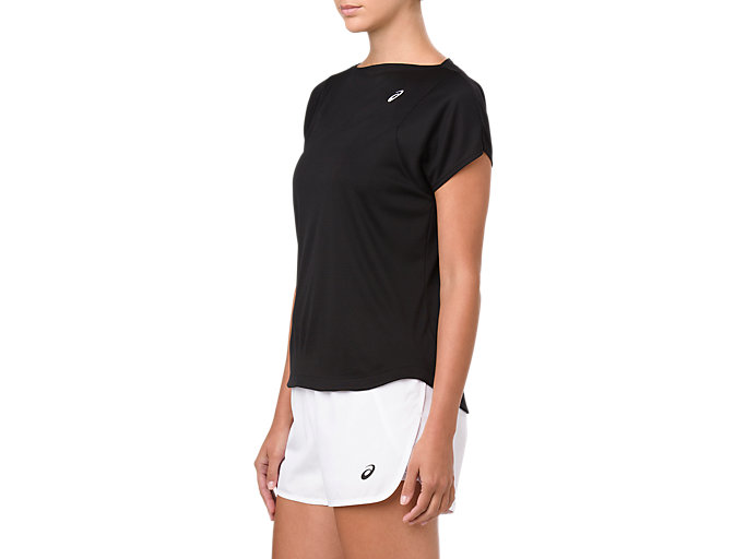 Side view of PRACTICE SS TOP, PERFORMANCE BLACK