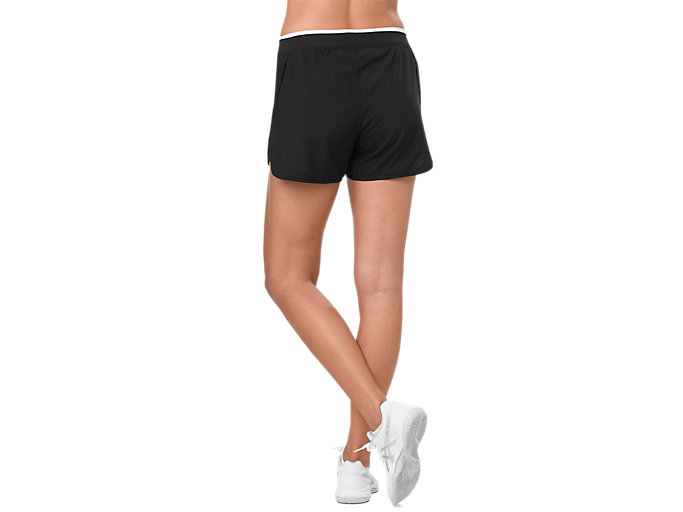 Back view of PRACTICE SHORT, PERFORMANCE BLACK