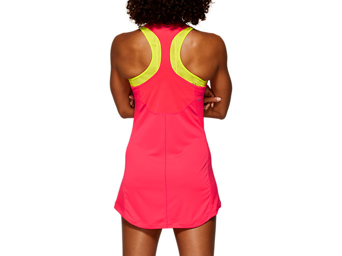 Back view of CLUB DRESS, LASER PINK