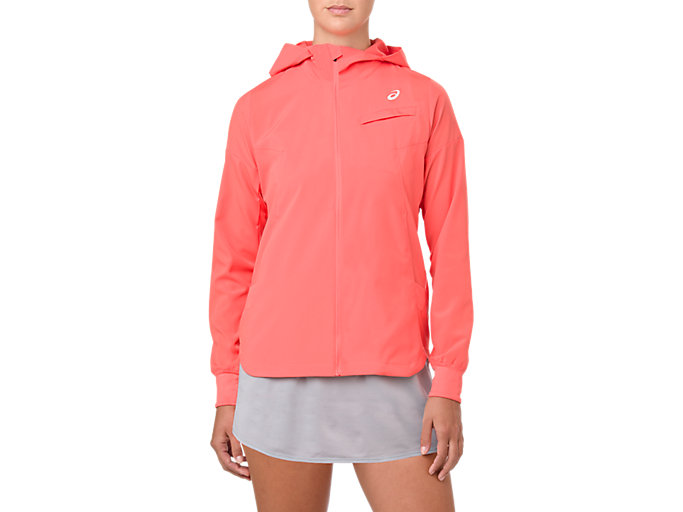 Front Top view of TENNIS WOVEN JACKET, PAPAYA