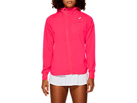 Front Top view of TENNIS WOVEN JACKET, LASER PINK
