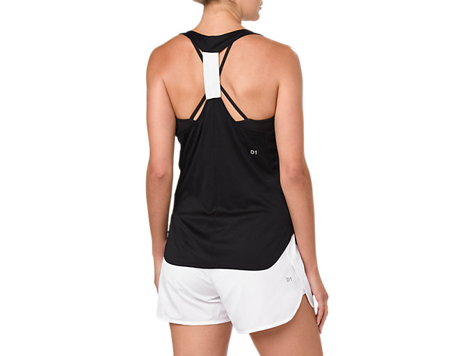 Back view of PRACTICE GRAPHIC TANK, PERFORMANCE BLACK