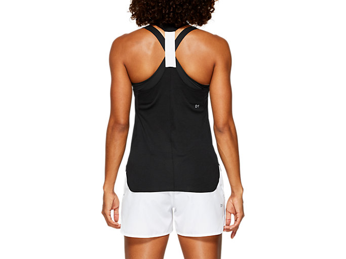 Back view of PRACTICE GRAPHIC TANK, PERFORMANCE BLACK/BRILLIANT WHITE