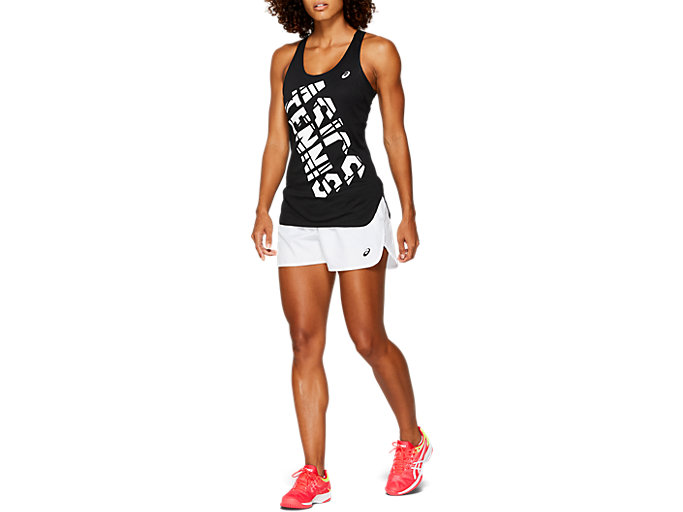Front Top view of PRACTICE GRAPHIC TANK, PERFORMANCE BLACK/BRILLIANT WHITE