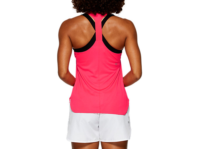 Back view of PRACTICE GRAPHIC TANK, LASER PINK
