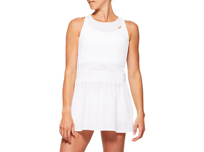 Front Top view of TENNIS W DRESS, BRILLIANT WHITE