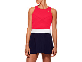 Front Top view of TENNIS W DRESS, DIVA PINK/PEACOAT