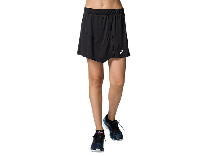 Front Top view of CLUB W SKORT, PERFORMANCE BLACK