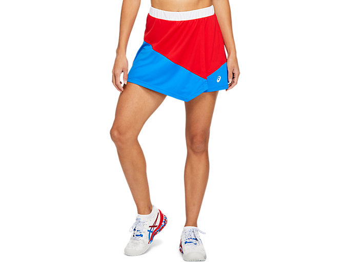 Front Top view of CLUB W SKORT, ELECTRIC BLUE/CLASSIC RED