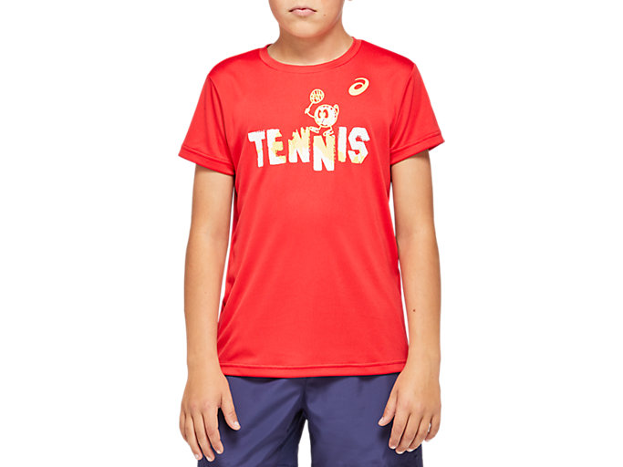 Front Top view of TENNIS B GRAPHIC T, CLASSIC RED
