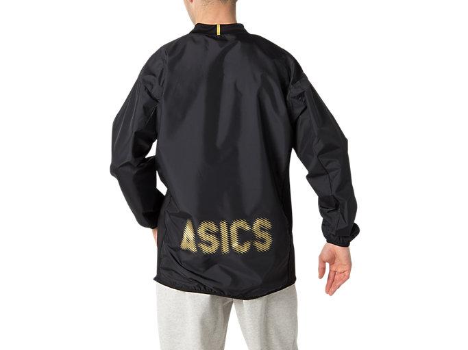 Back view of ナガソデウオームアップシャツ, パフォーマンスブラック×ゴールド