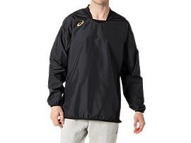 Front Top view of ナガソデウオームアップシャツ, パフォーマンスブラック×ゴールド