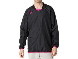 Front Top view of ナガソデウオームアップシャツ, パフォーマンスブラック×ピンクグロー
