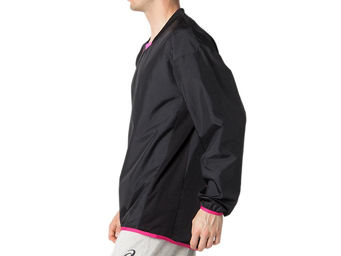 Side view of ナガソデウオームアップシャツ, パフォーマンスブラック×ピンクグロー