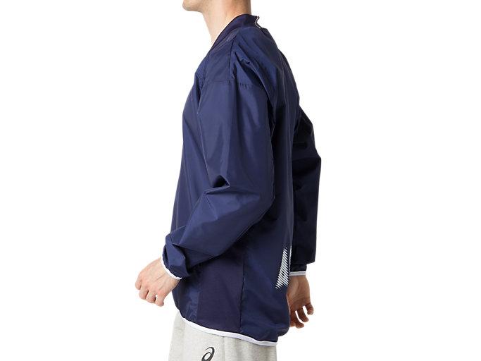 Side view of ナガソデウオームアップシャツ, ピーコート