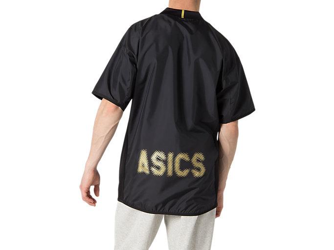 Back view of ハンソデウオームアップシャツ, パフォーマンスブラック×ゴールド