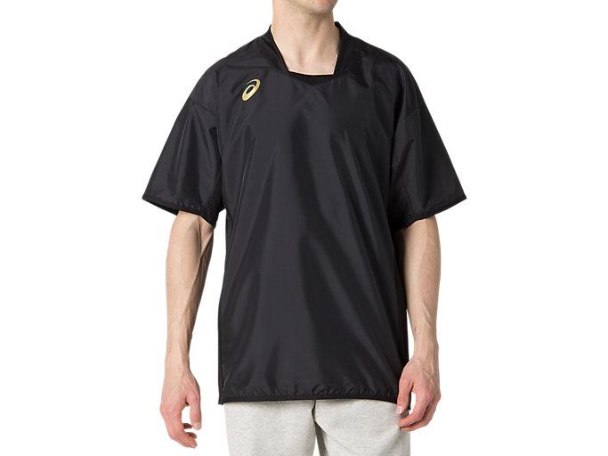 Front Top view of ハンソデウオームアップシャツ, パフォーマンスブラック×ゴールド